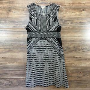 Max Studio Dress Black Geo Print Empire Waist New